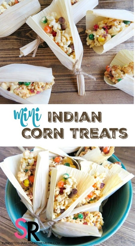 Mini Indian Corn Treats with Husks for Thanksgiving