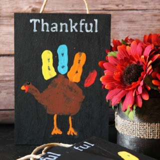 Chalkboard Thankful Handprint Turkeys