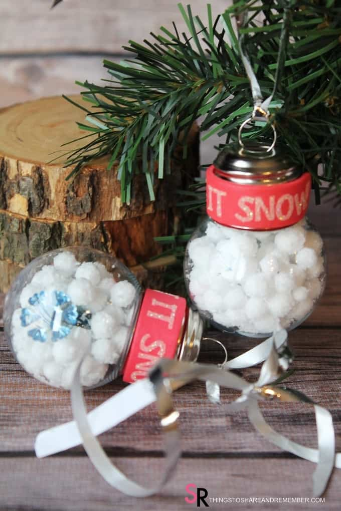 Let it Snow Ornaments plastic fillable ornaments kids can make