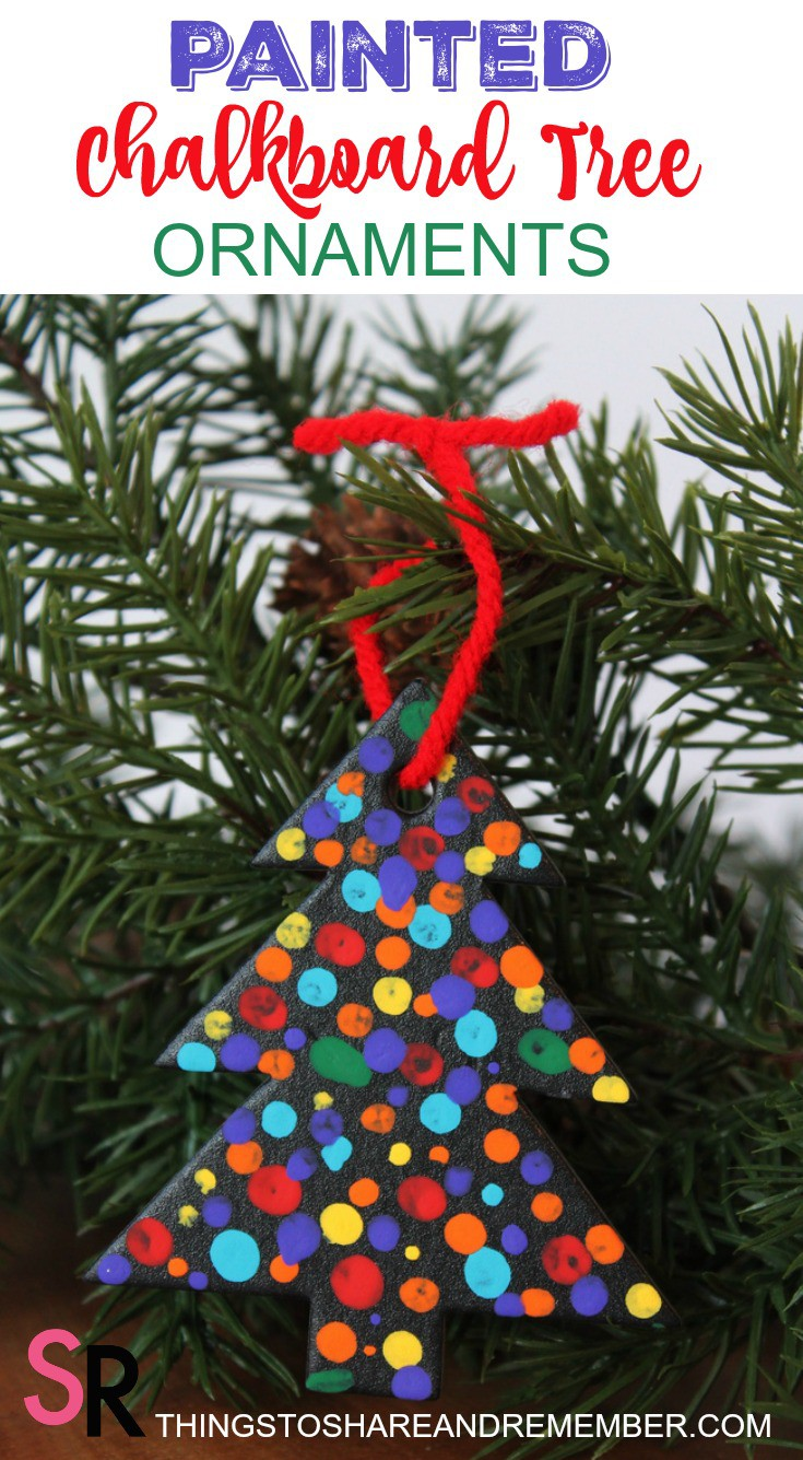 Painted Chalkboard Tree Ornaments