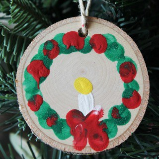 Rustic Wood Slice Fingerprint Wreath Ornaments