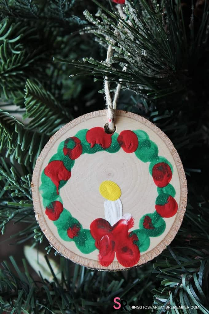 Rustic Wood Slice Fingerprint Wreath Ornaments