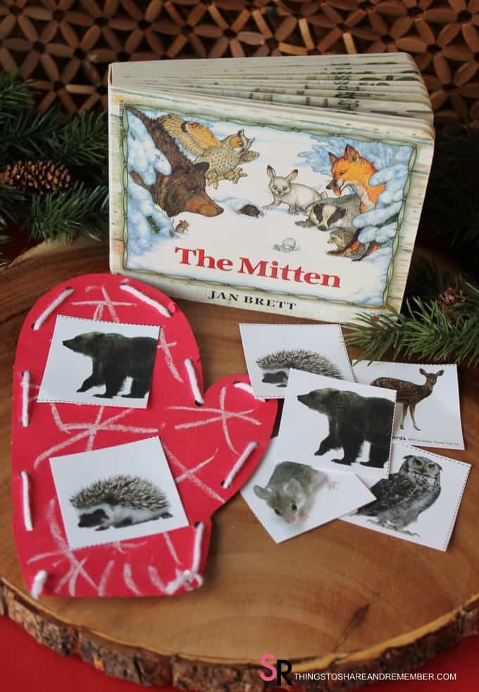 Week 2 of Winter in the Woods is all about Winter Gear: Mittens, snowshoes, sled, coat, hat & scarf. It's going to be a fun week. But first, Winter in Woods: Mittens. It's Winter in Woods: Mittens activities for winter. Preschool literacy and art plus and interactive game and storytelling with The Mitten book.