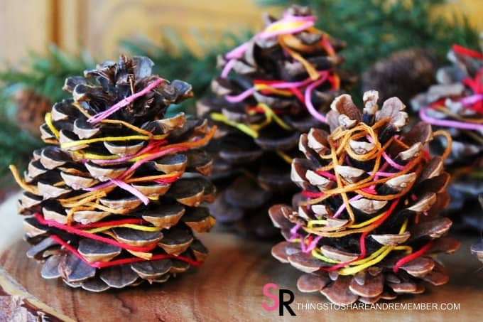 Thread Wrapped Pinecones