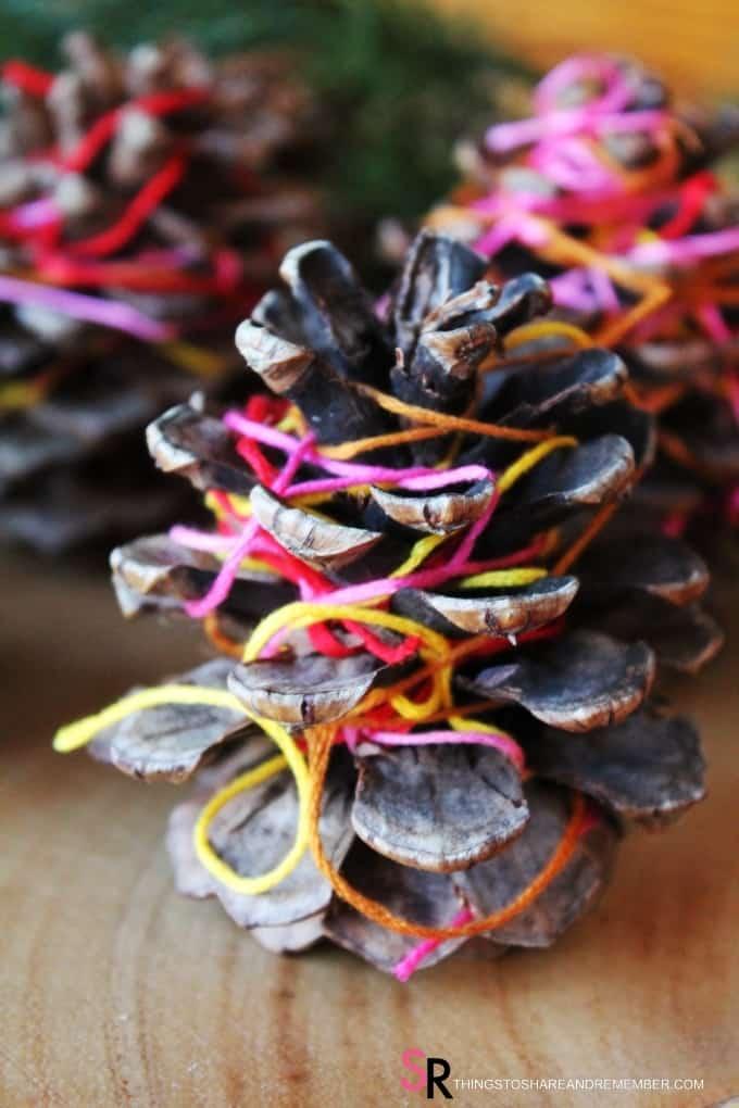 Thread Wrapped Pinecones