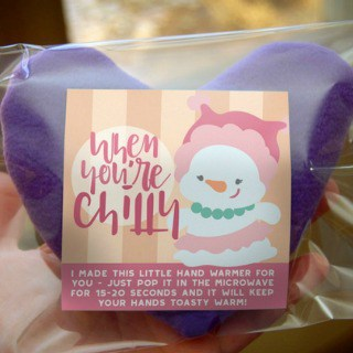 Heart Hand Warmer Tutorial with Printable Gift Label