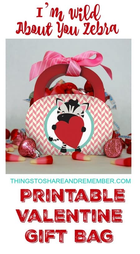 Make this adorable I'm Wild About You Zebra Printable Valentine Gift Bag for the little valentines in your life. It couldn't be easier - just print on heavy cardstock, cut out and assemble. Fill with sweet treats. Super cute! Personalize the gift bag on the back and add a ribbon to the top - you're good to go! Happy Valentine's Day! See the link below to download the free printable pattern.