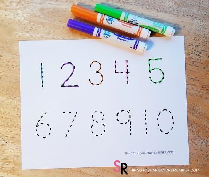 1-10 Number Tracing Printable