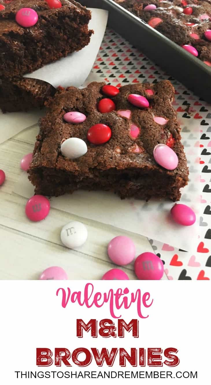 There's nothing like a homemade brownie. Valentine M&M Brownies are perfect for Valentine's Day for your family, a work treat or a classroom party. Keep it simple and make what everyone likes – chocolate with more chocolate! Yes, brownie mixes are easy but homemade brownies are too. Give them a try!