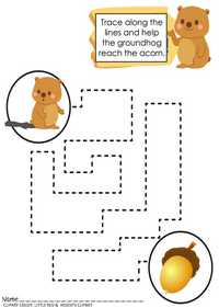 Groundhog Day Tracing Activities & Mazes