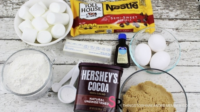ingredients for chocolate marshmallow cookies