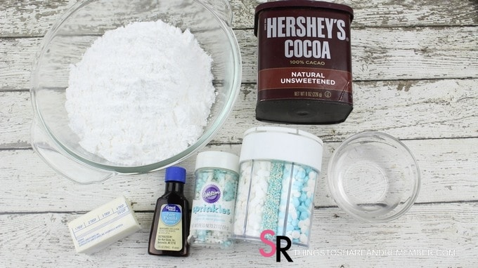 making the frosting for Chocolate Marshmallow Cookie Recipe