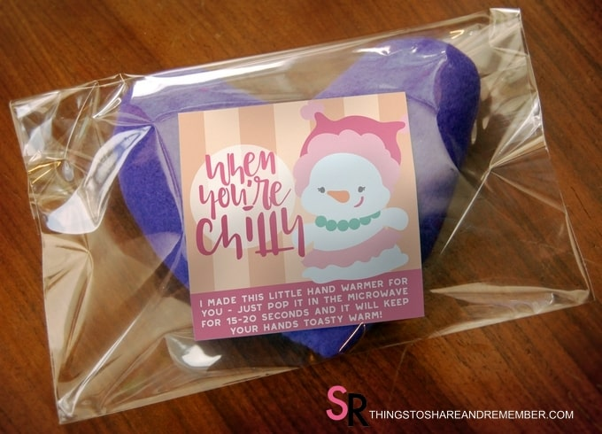 Heart Hand Warmer Tutorial with Printable Gift Label - bagged and labeled