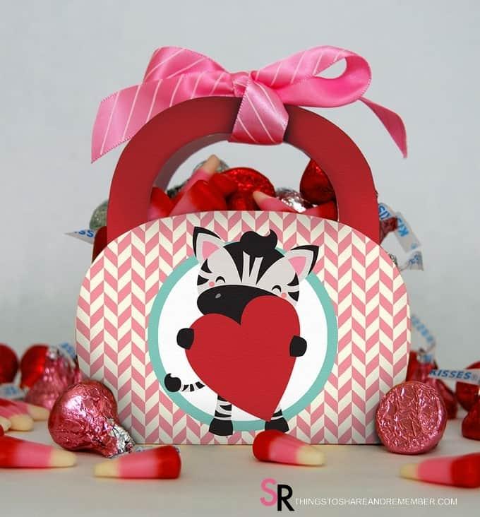 I'm Wild About You Zebra Printable Valentine Gift Bag