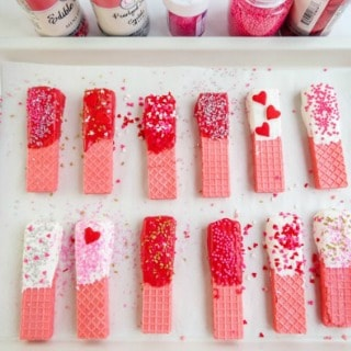 Sweet Sprinkled Valentine Dipped Wafers
