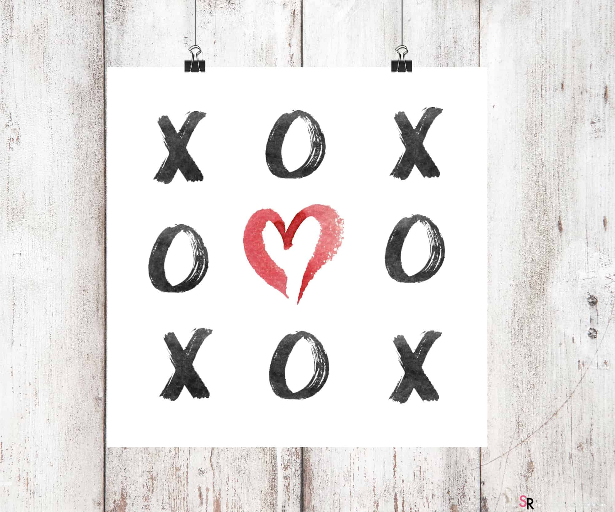 xoxo valentine wall art printable. Black Bedroom Furniture Sets. Home Design Ideas