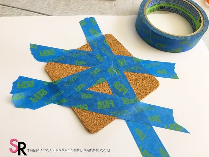 DIY Painted Cork Coasters taped