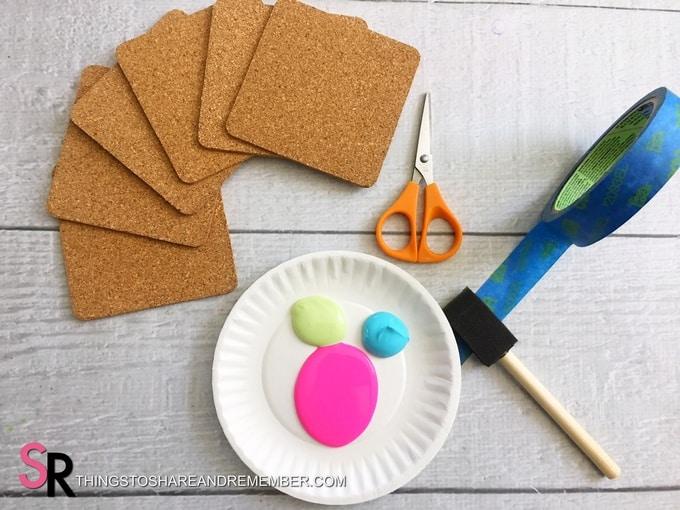 DIY Painted Cork Coasters materials