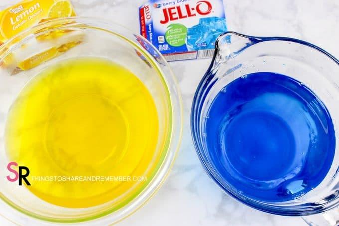 Dr. Seuss One Fish Two Fish Jello Cups prepare the Jello