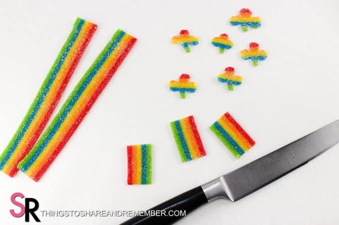 St. Patrick's Day Leprechaun Hat Treats rainbow candy Airheads
