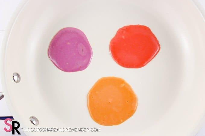 Mini Rainbow Pancakes cook pancakes