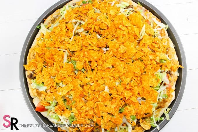 crusted Doritos on Quick & Easy Taco Pizza