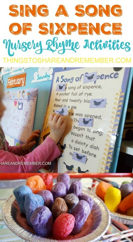 Sing a Song of Sixpence Nursery Rhyme Preschool Activities #MGTblogger