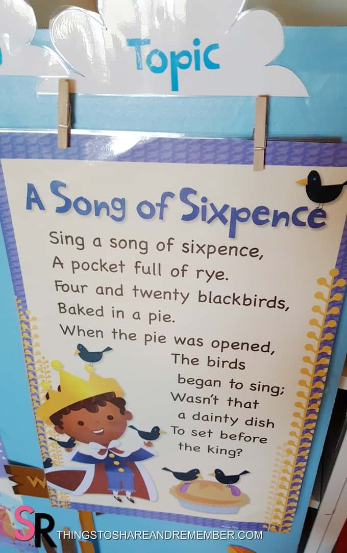Sing a Song of Sixpence rhyme poster