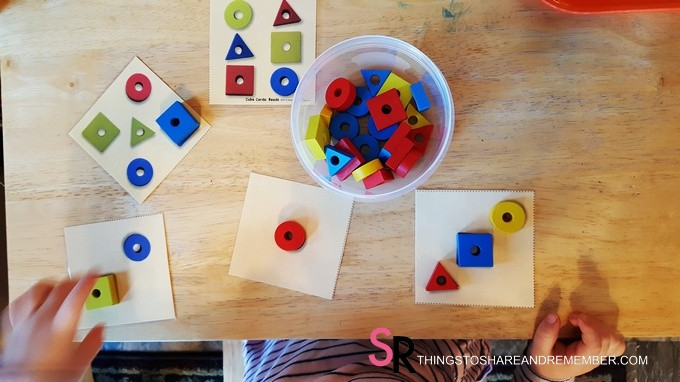 shape matching cards with manipulatives #MGTblogger