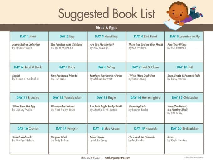 Suggested Book List for preschool Birds & Eggs theme by Mother Goose Time