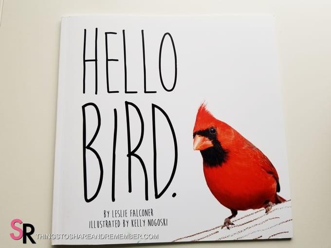 Hello Bird book with male cardinal bird