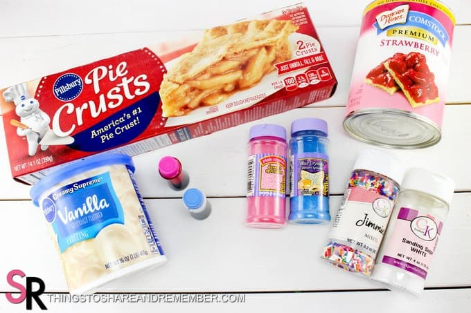 Mini Pop Tarts made with Pillsbury Pie Crusts, cherry pie filling, frosting and sprinkles