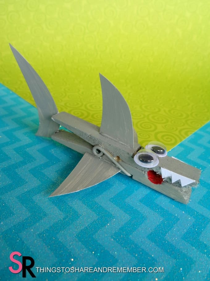 Shark Clothespin Magnet completed