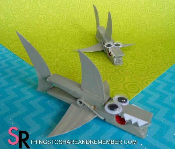 Make a Ultra Super Awesome Shark Clothespin Magnet