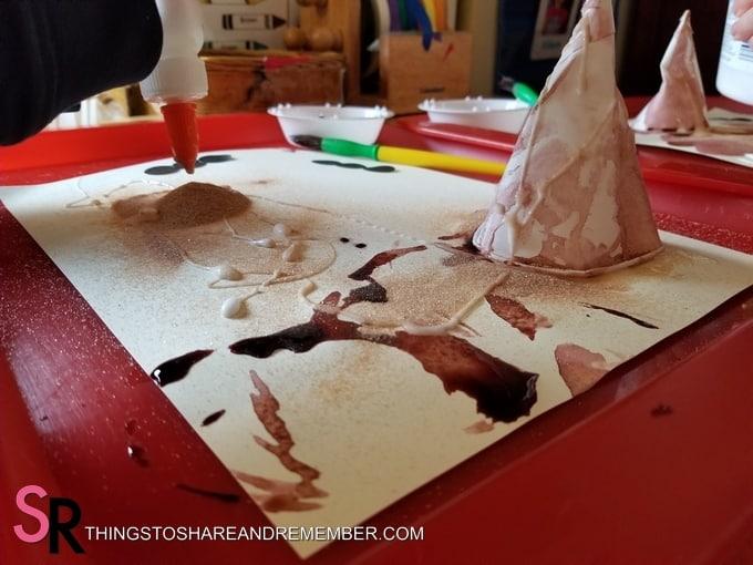 glue and sand