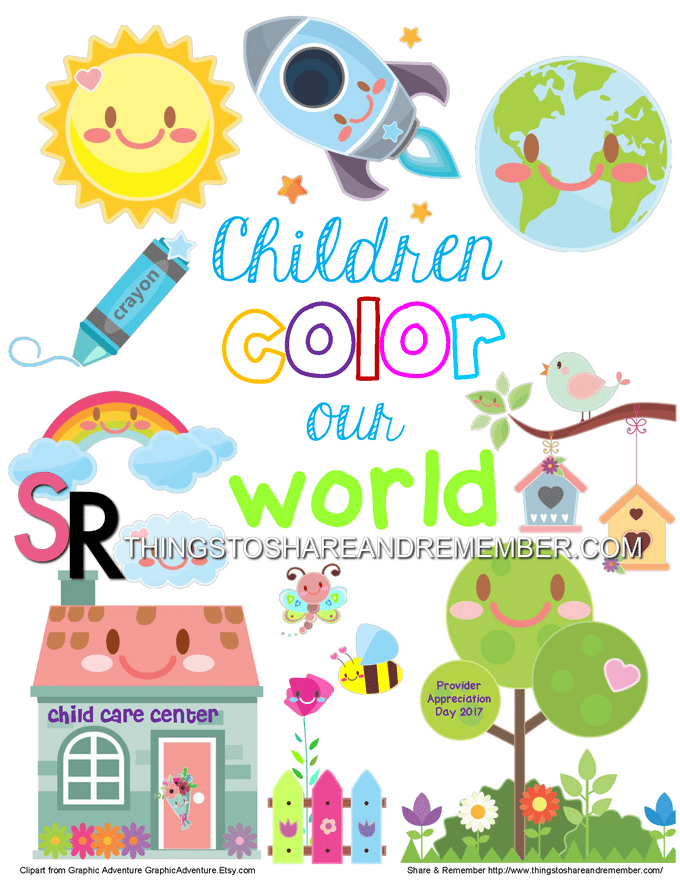 Children Color Our World Printable Poster