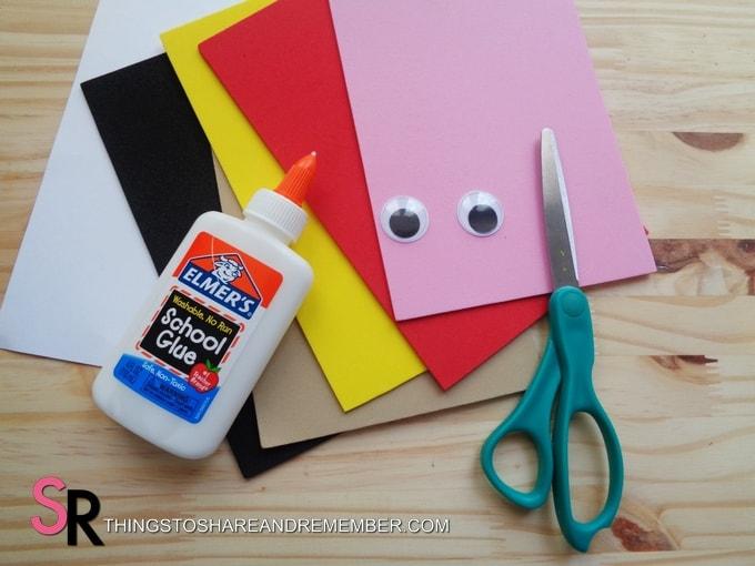 foam, glue, scissors craft supplies