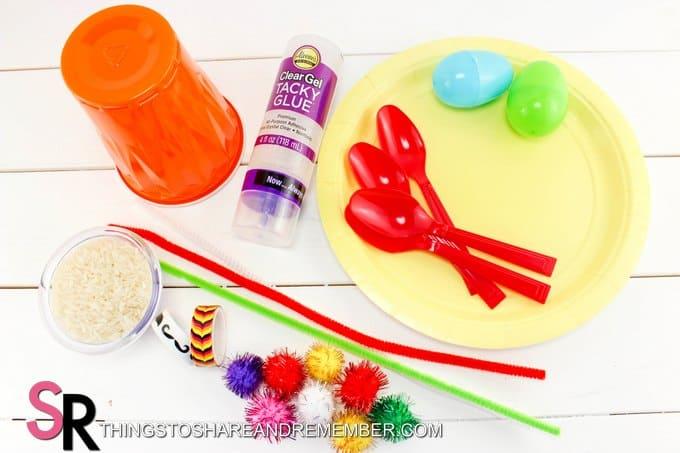 craft supplies to make Fiesta Sombrero and Maracas