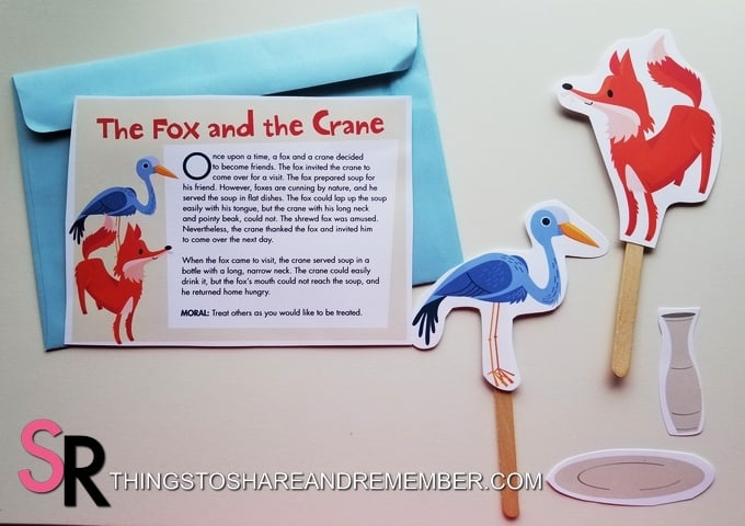 The Fox and the Crane fable puppets and story