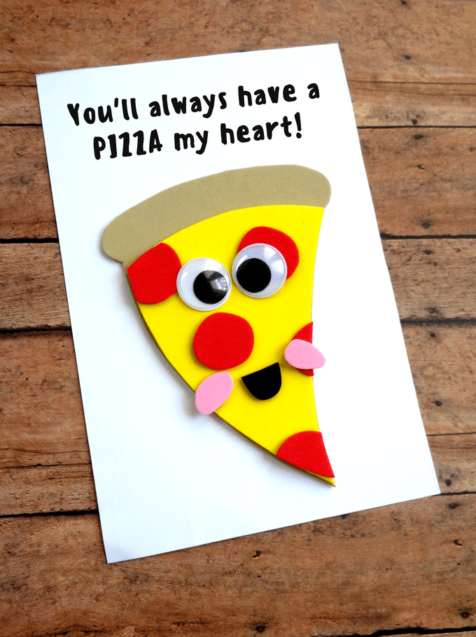 foam pizza shape on paper card with googly eyes