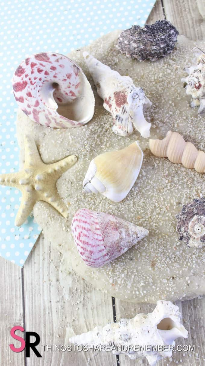 DIY Sand Play Dough with shells