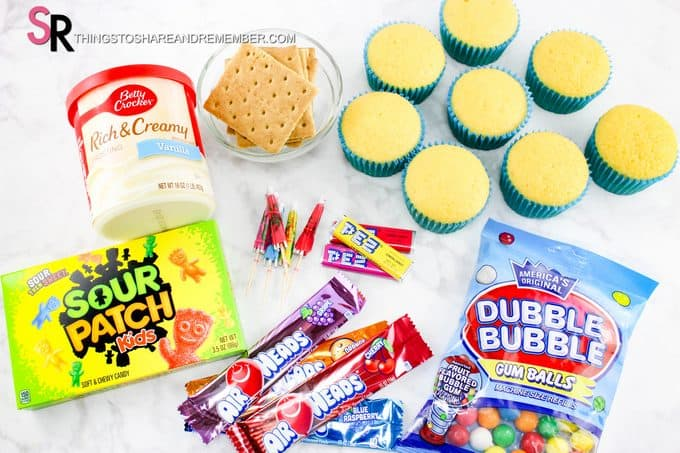ingredients for beach day cupcakes
