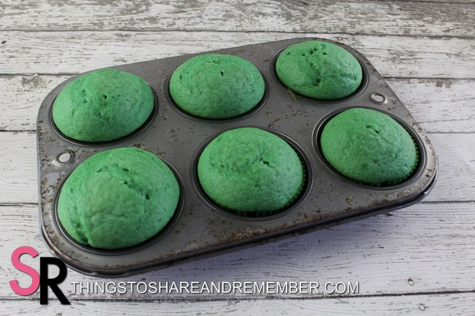 baked green cupcakes