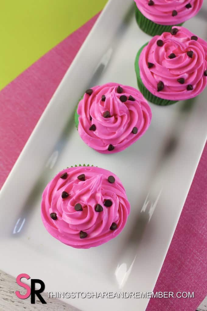 pink frosted cupcakes with mini chocolate chips