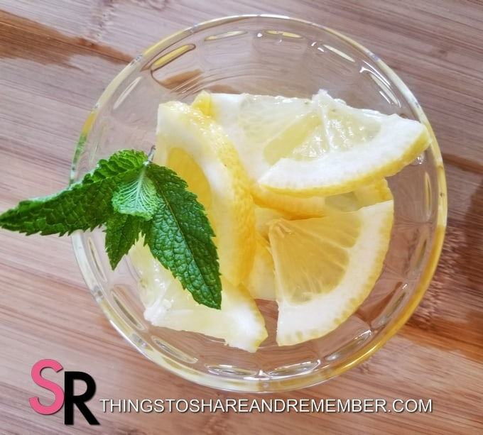 lemon slices with mint sprig