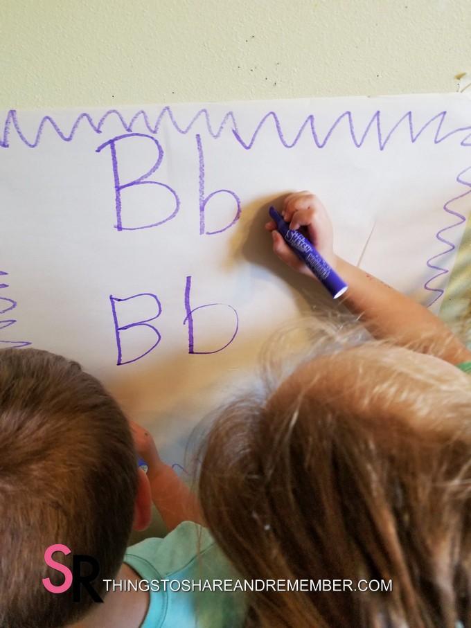 writing letter B