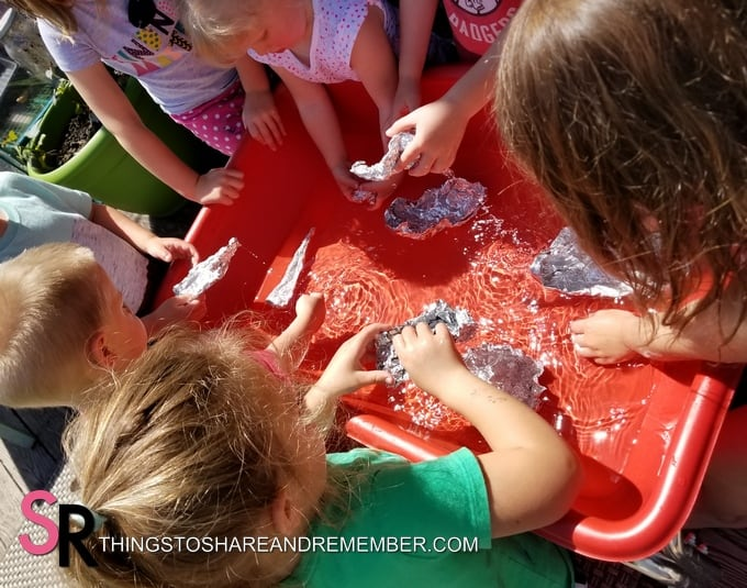 sensory table foil boats