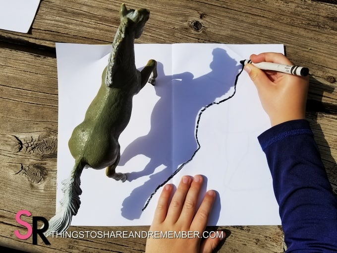 Camping Shadows tracing toy horse shadow