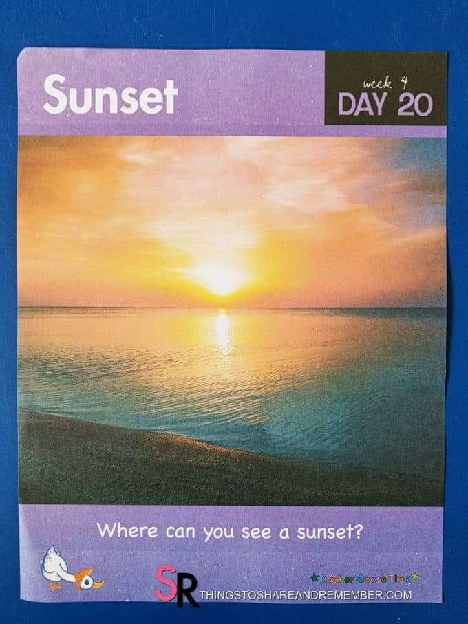 Sunset daily topic poster Mother Goose Time