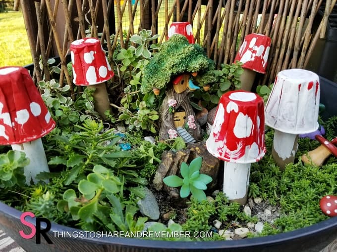 paper mushrooms in the fairy garden